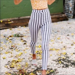 UO Ingrid high-waisted stretch striped pants